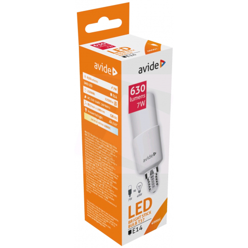 Avide LED Bright Stick izzó T37 7W E14 NW 4000K