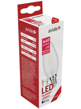 Avide LED Frosted Filament Candle 4W E14 360° WW 2700K