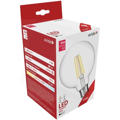 Avide LED Filament Globe G95 8W E27 360° WW 2700K
