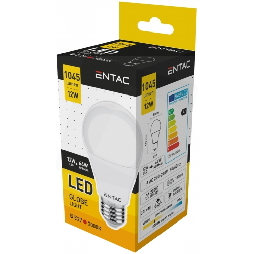 Entac LED Globe E27 12W WW 3000K