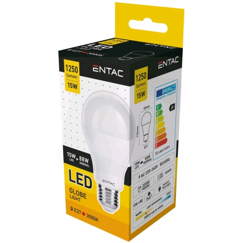 Entac LED Globe E27 15W WW 3000K