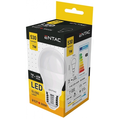 Entac LED Globe E27 7W WW 3000K