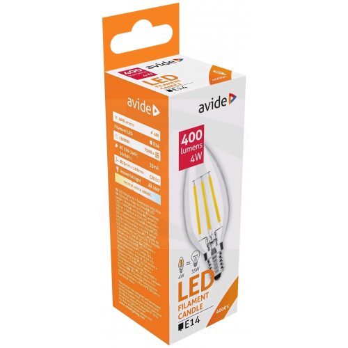 Avide LED Filament Candle 4W E14 360° NW 4000K