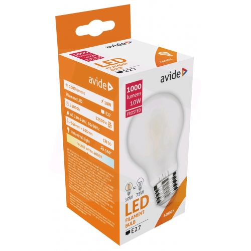 Avide LED Frosted Filament Globe 10W E27 360° NW 4000K
