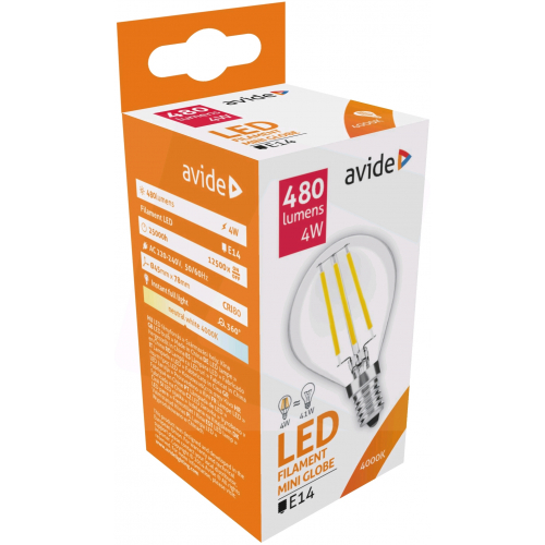 Avide LED Filament Mini Globe 4W E14 360° NW 4000K
