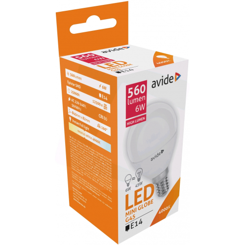 Avide LED Globe Mini G45 6W E14 NW 4000K