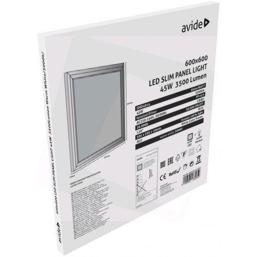 Avide LED Slim Panel 600x600x12mm 45W WW 3000K