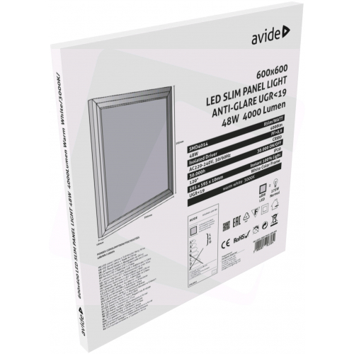 Avide LED Slim Panel 600x600x12mm 48W WW 3000K UGR