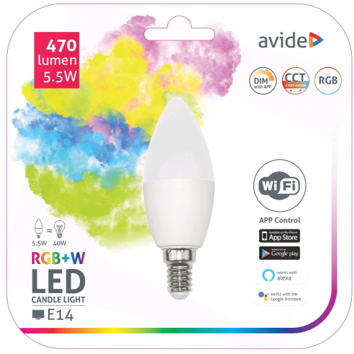 Avide Smart LED Candle 5.5W RGB+W WIFI APP Control