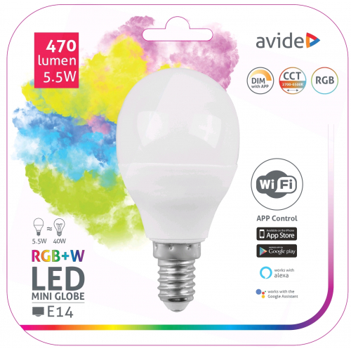 Avide Smart LED Mini Globe 5.5W RGB+W WIFI APP Control
