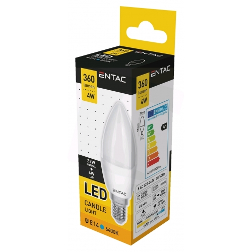 Entac LED Candle E14 4W CW 6400K