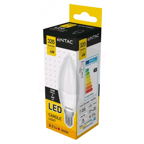 Entac LED Candle E14 4W WW 3000K (320 lumen)
