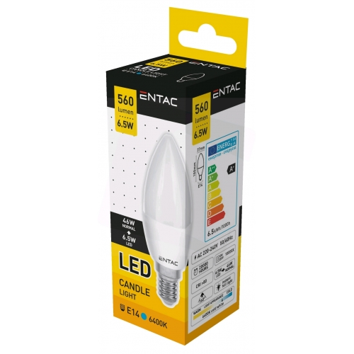 Entac LED Candle E14 6,5W CW 6400K
