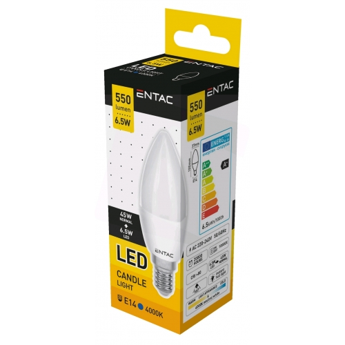 Entac LED Candle E14 6,5W NW 4000K