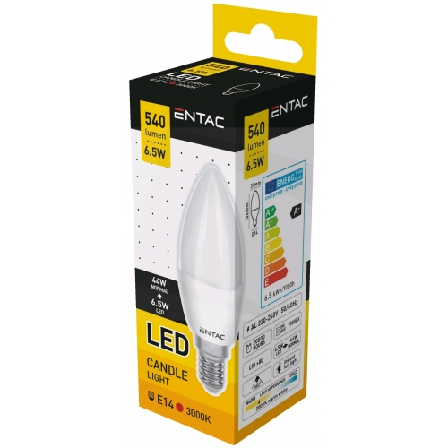 Entac LED Candle E14 6,5W WW 3000K