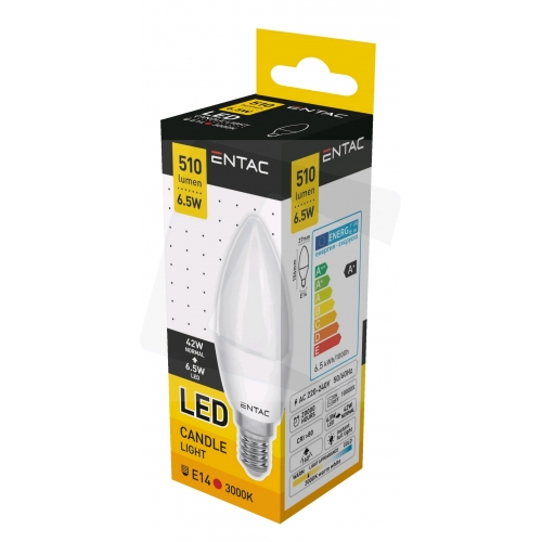 Entac LED Candle E14 6,5W WW 3000K (510 lumen)
