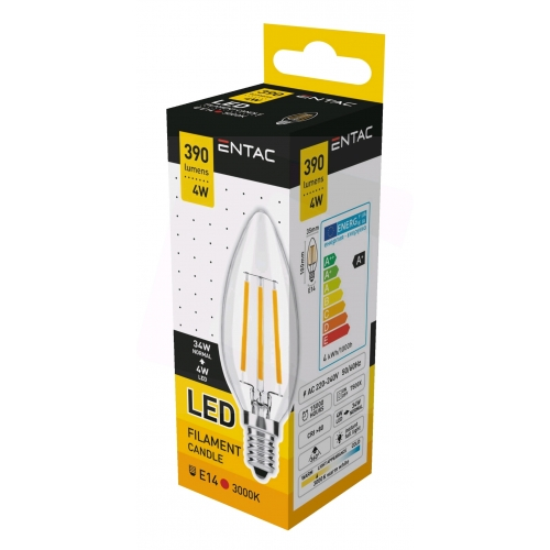 Entac LED Filament Candle 4W E14 WW 3000K