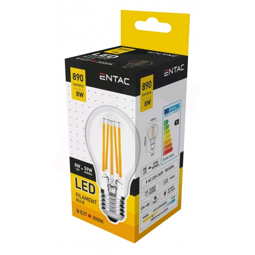 Entac LED Filament Globe 8W E27 WW 3000K