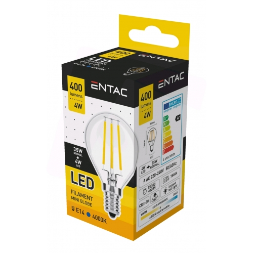 Entac LED Filament Mini Globe 4W E14 NW 4000K