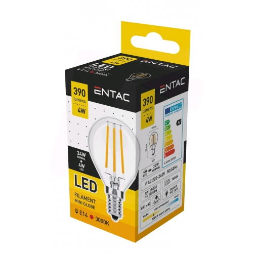 Entac LED Filament Mini Globe 4W E14 WW 3000K