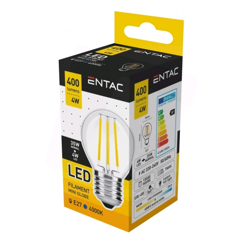 Entac LED Filament Mini Globe 4W E27 NW 4000K