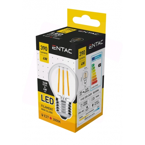 Entac LED Filament Mini Globe 4W E27 WW 3000K