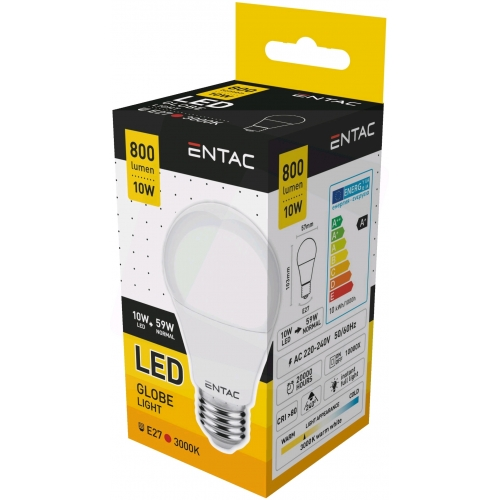 Entac LED Globe E27 10W WW 3000K