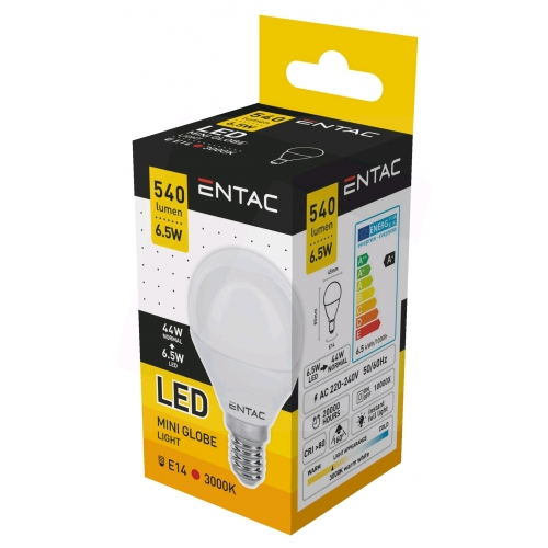 Entac LED Mini Globe E14 6,5W WW 3000K (540 lumen)