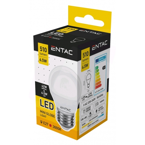 Entac LED Mini Globe E27 6,5W WW 3000K (510 lumen)