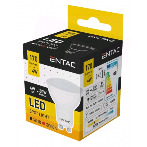 Entac LED Spot Wide Angle GU10 4W WW 3000K