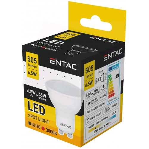 Entac LED Spot Wide Angle GU10 6,5W WW 3000K
